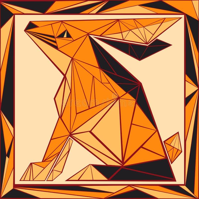 Verre souillé stylisé par horoscope chinois - lapin illustration libre de droits
