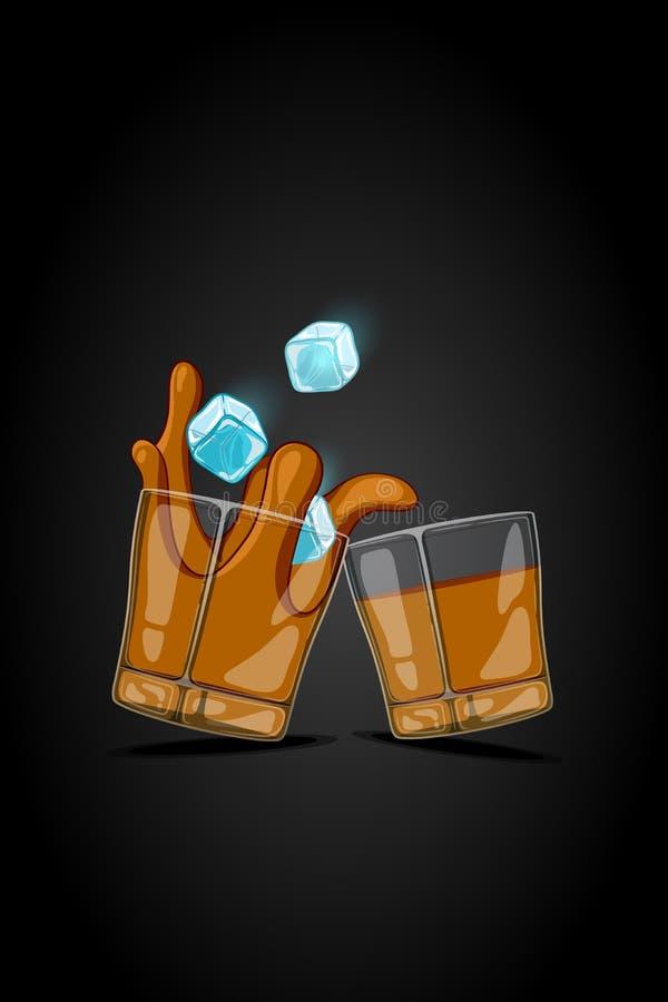 Verre tiré d'illustration de bande dessinée de vecteur avec la boisson d'alcool glaçons tombant et liquide d'éclaboussure illustration libre de droits