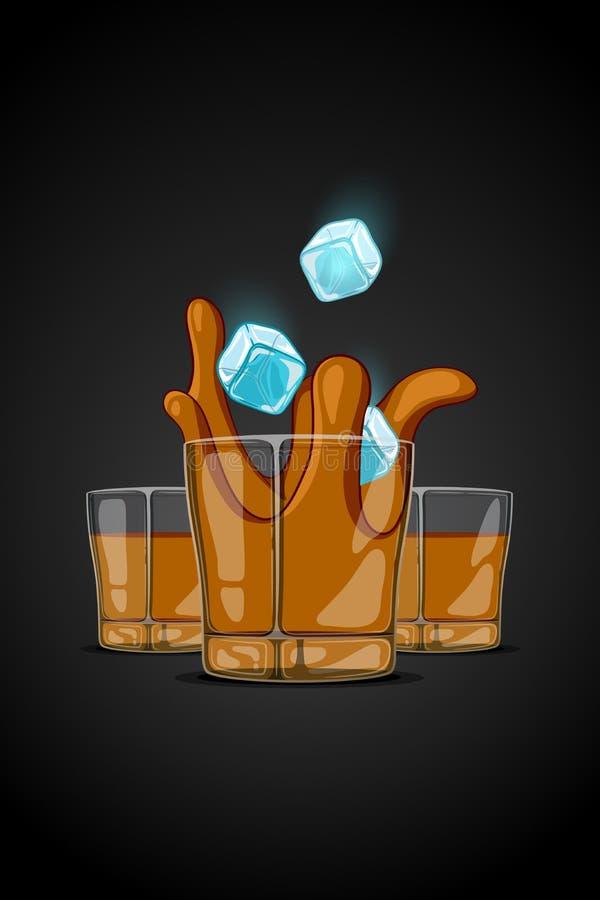 Verre tiré d'illustration de bande dessinée de vecteur avec la boisson d'alcool glaçons tombant et liquide d'éclaboussure illustration de vecteur