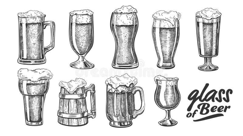 Verre tiré par la main avec le vecteur d'ensemble de bière de bulle de mousse illustration de vecteur