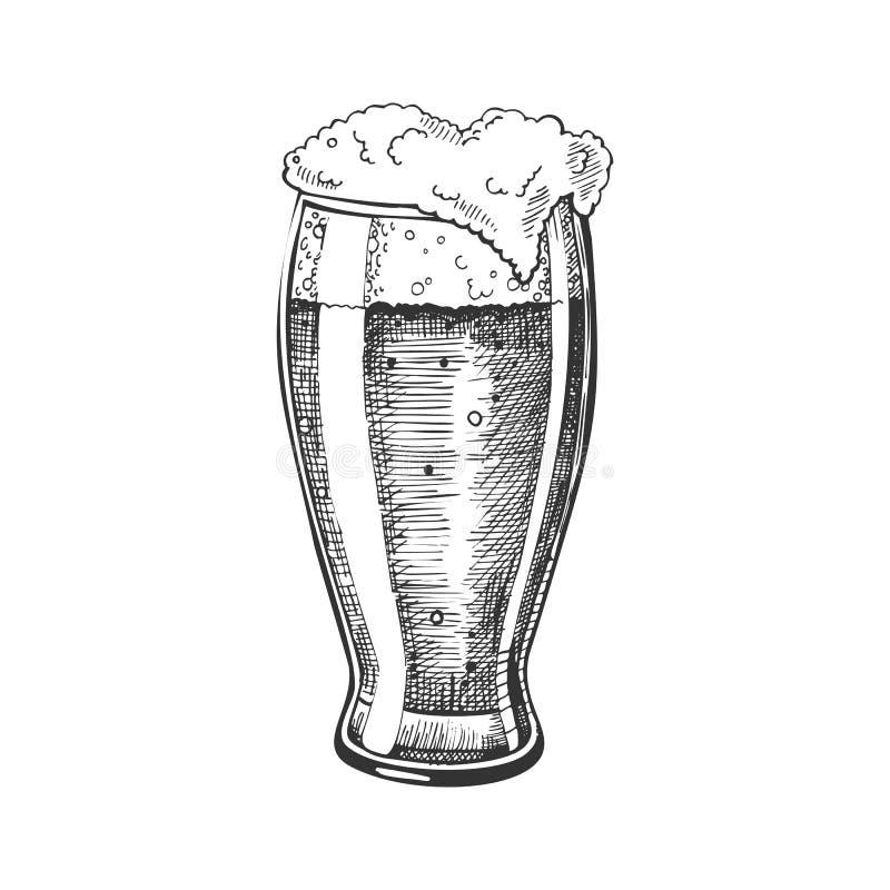 Verre tiré par la main avec le vecteur de bière de bulle de mousse illustration de vecteur