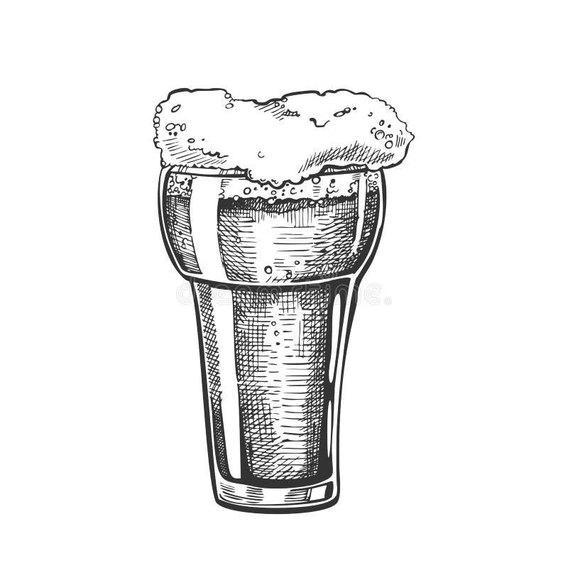 Verre tiré par la main avec le vecteur de boissons de bulle de mousse illustration libre de droits