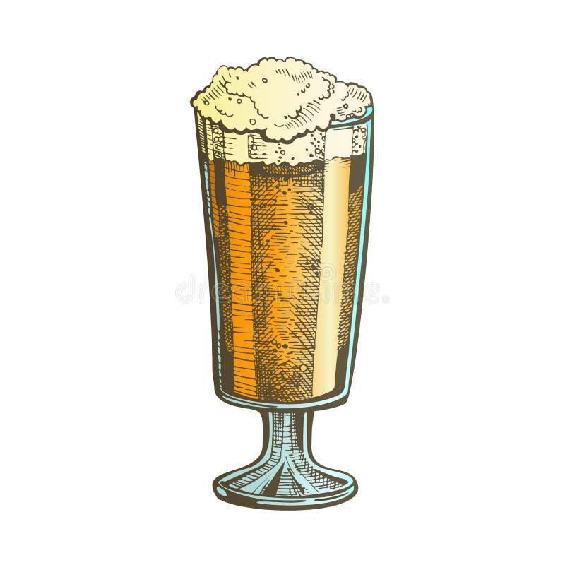Verre tiré par la main de couleur avec le vecteur de bière de bulle de mousse illustration stock