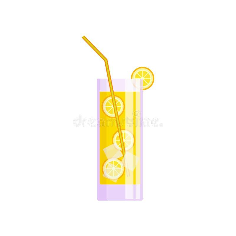 Verre transparent de jus d'orange frais avec des glaçons illustration stock
