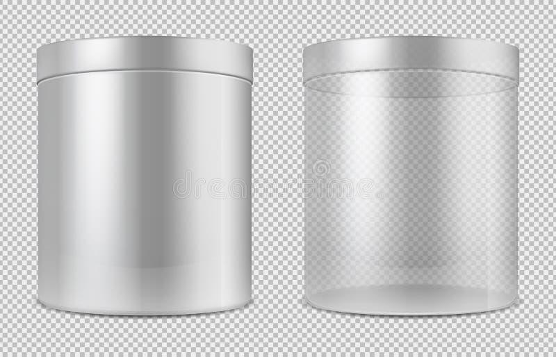 Verre transparent vide de cylindre et boîtes blanches Le paquet pour la nourriture, les biscuits et les cadeaux dirigent le calib illustration libre de droits