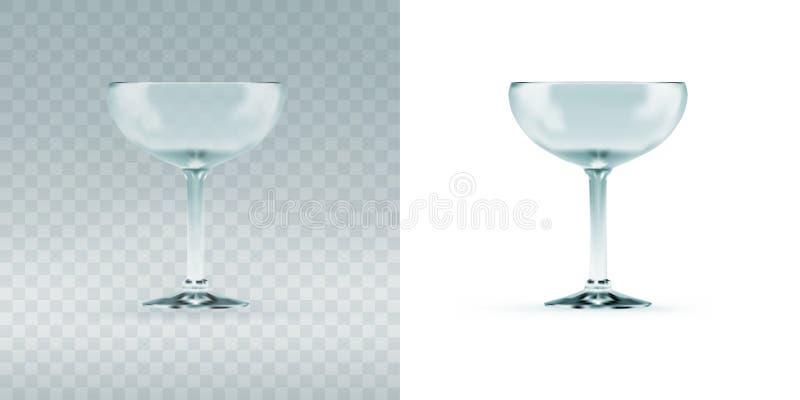 Verre transparent vide de sauser de cocktail pour la margarita illustration libre de droits