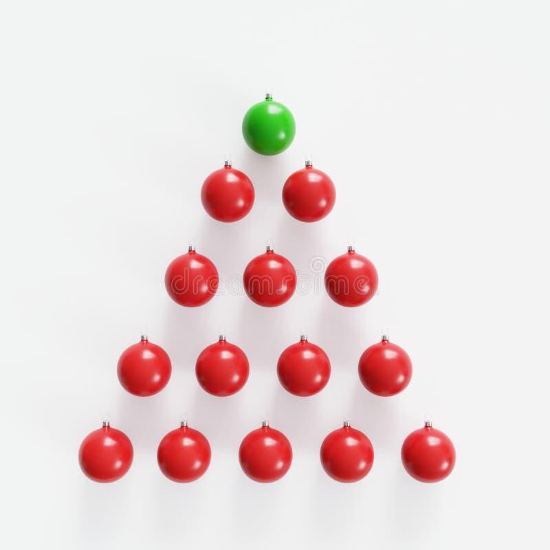 Verre vert exceptionnel de mercure parmi l'ornement rouge de Noël en verre de mercure sur le fond blanc illustration libre de droits
