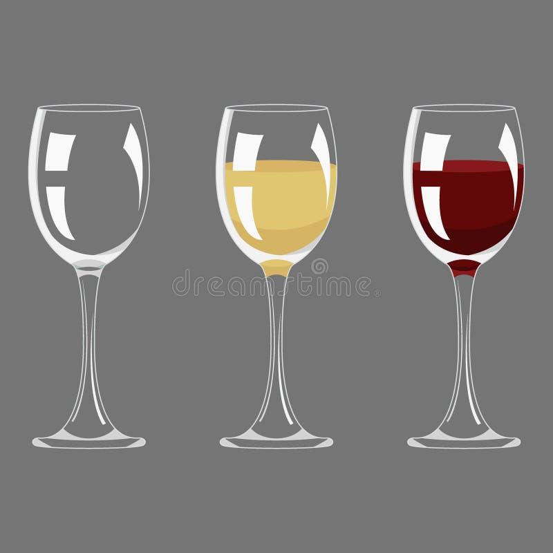 Verre vide et plein de transparent de vin rouge et blanc illustration libre de droits