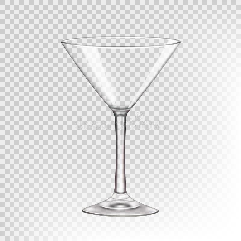 Verre vide pour les boissons alcoolisées, verre transparent illustration libre de droits