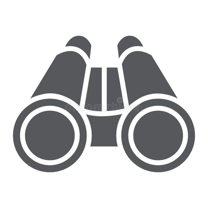 Verrekijkers glyph pictogram, optisch en gezoem, toezichtteken, vectorafbeeldingen, een stevig patroon op een witte achtergrond royalty-vrije illustratie