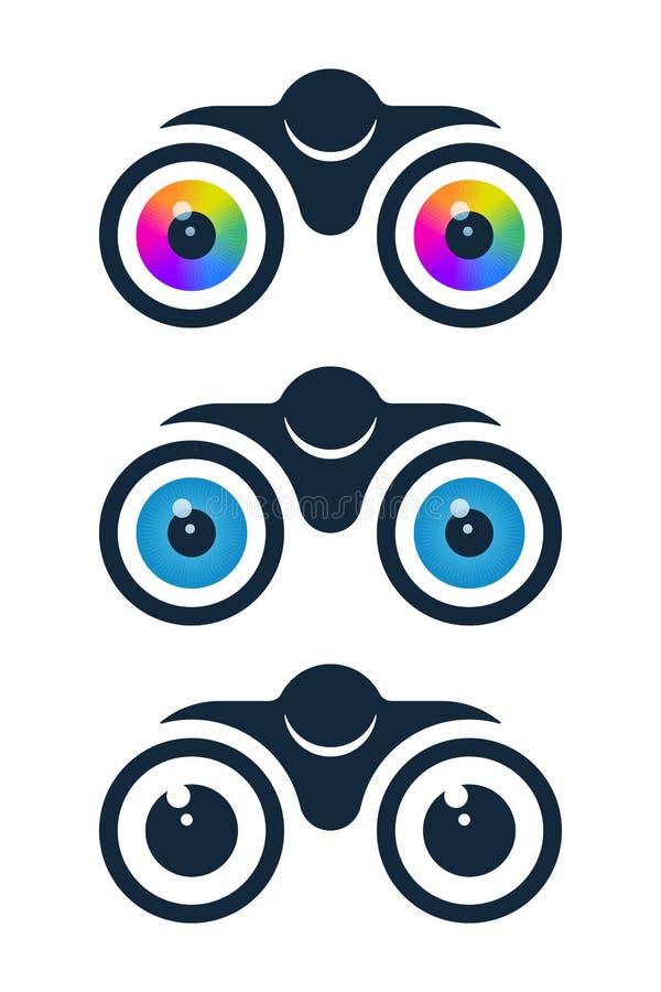 Verrekijkerspictogrammen met oogappels vector illustratie