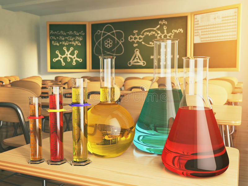 Verrerie de laboratoire avec la formule sur le blackdesk dans l'école illustration stock