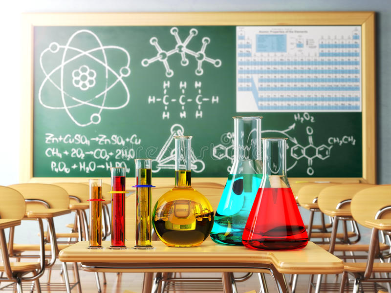 Verrerie de laboratoire avec la formule sur le blackdesk dans le che d'école illustration stock