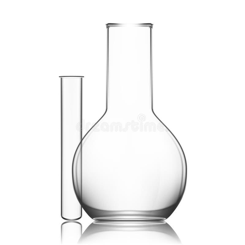 Verrerie de laboratoire de deux produits chimiques ou becher Tube à essai clair vide d'équipement en verre photos libres de droits