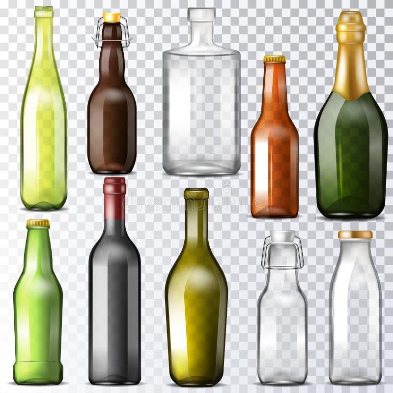 Verrerie de vecteur de verre à bouteilles de bouteille d'eau et mettre en forme de tasse-verre ou verre-pot pour des boissons ou  illustration de vecteur
