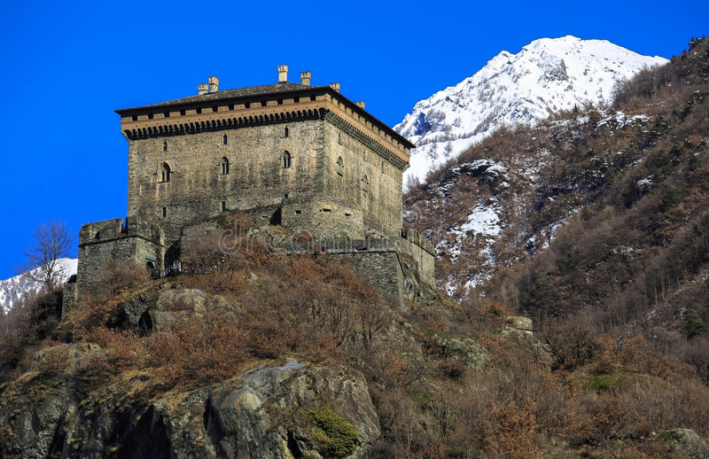 Verres城堡,瓦莱达奥斯塔,北意大利(ITA) 免版税库存照片