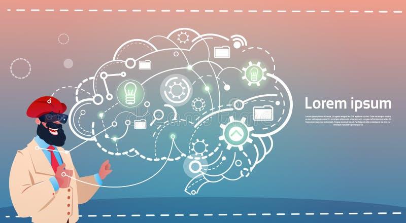 Verres arabes de réalité de Digital d'usage d'homme d'affaires faisant un brainstorm le concept créatif d'idée de briefing illustration de vecteur