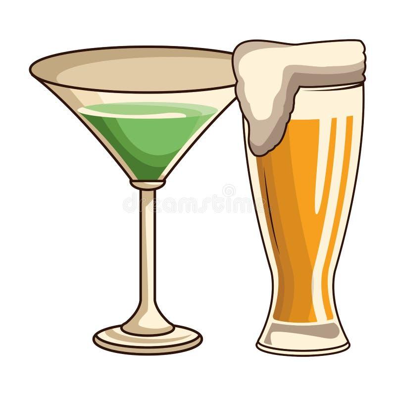 Verres avec la boisson et la bière illustration libre de droits