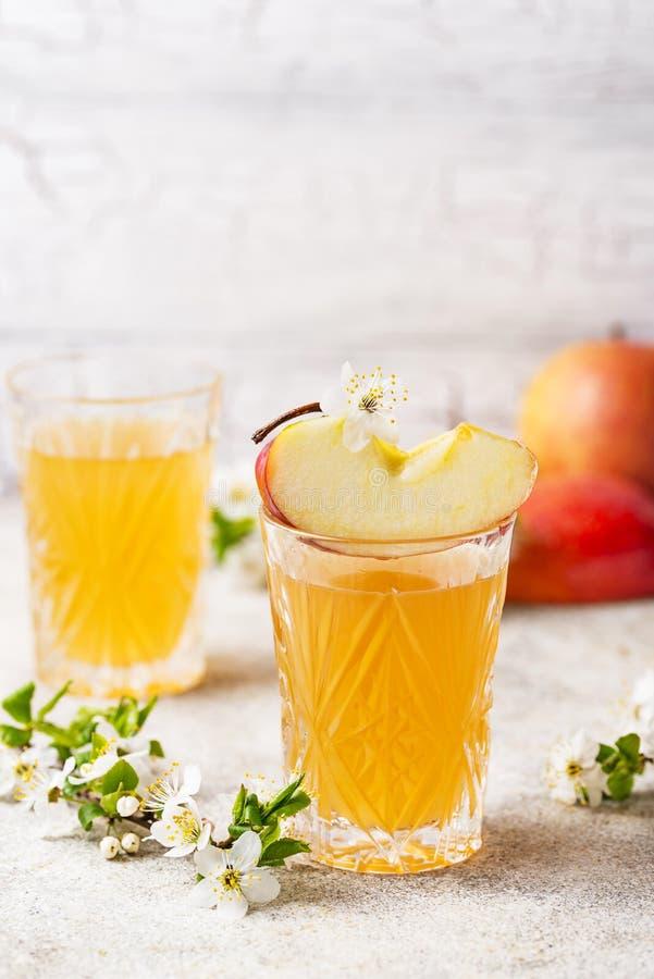 Verres avec le jus ou le cidre de pomme frais photo libre de droits