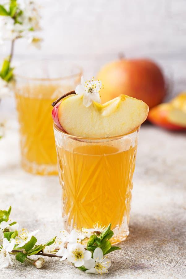 Verres avec le jus ou le cidre de pomme frais photos libres de droits
