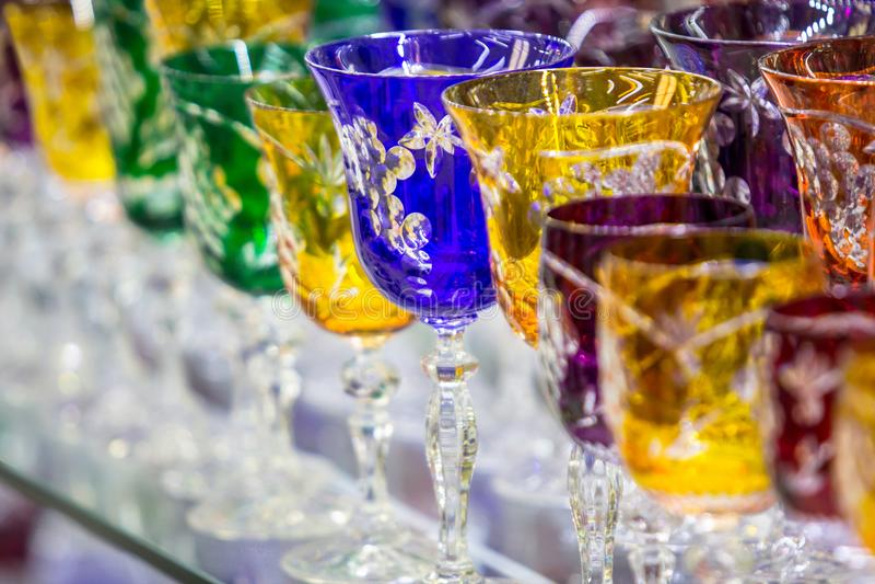 Verres cristal de Bohème image stock