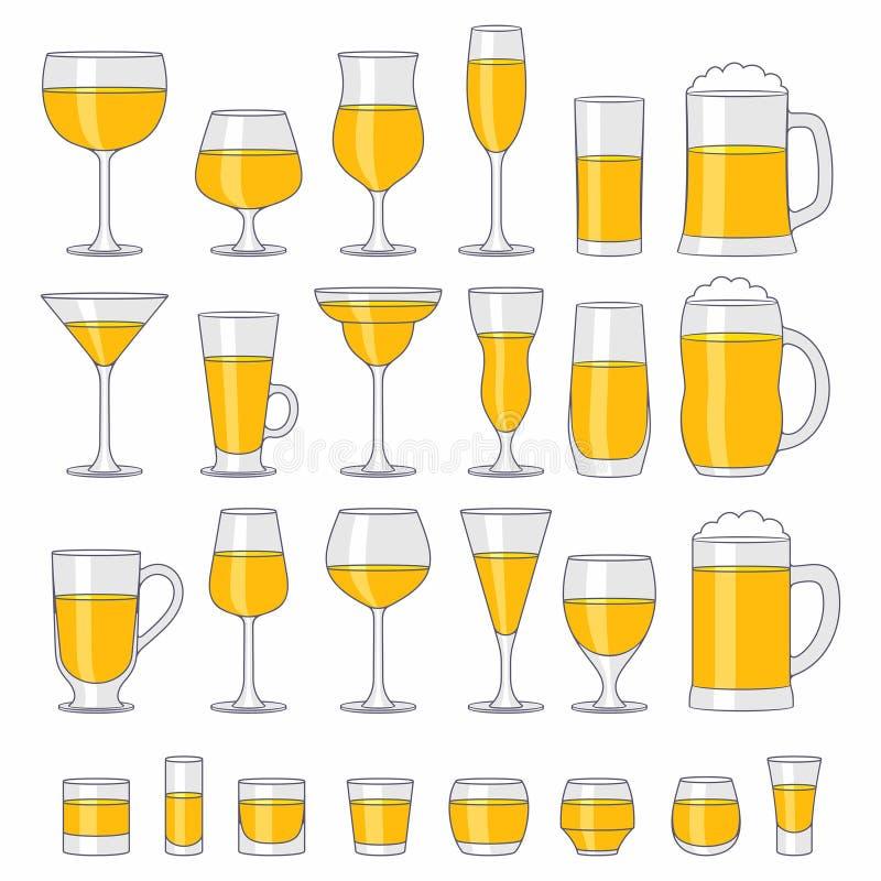 Verres d'alcool réglés illustration libre de droits