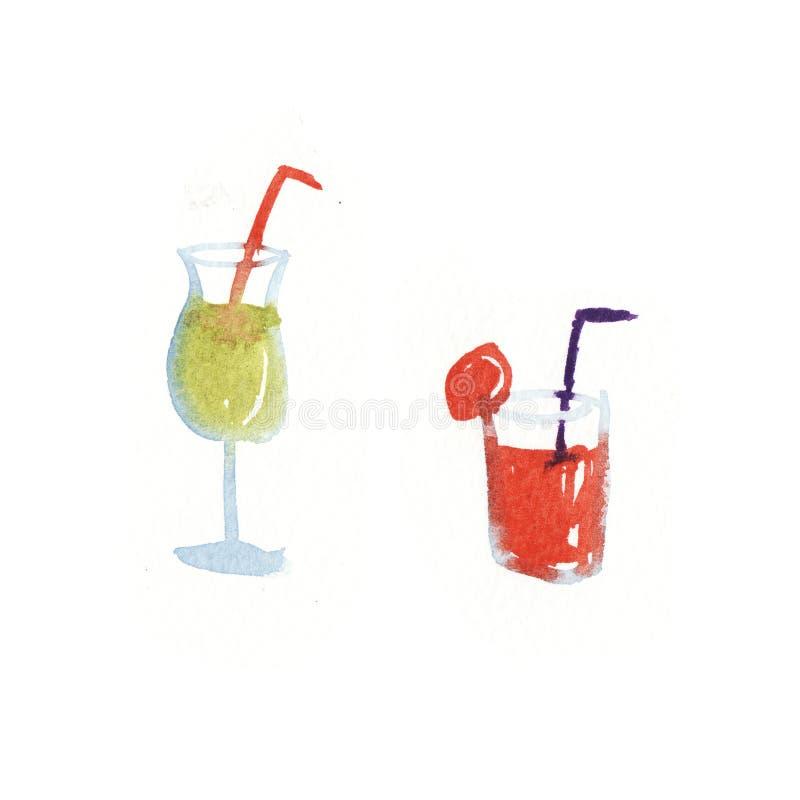 Verres d'aquarelle avec des cocktails d'isolement illustration de vecteur