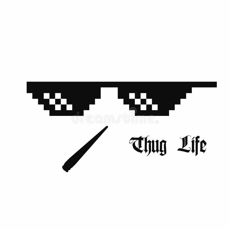 Verres d'art de pixel Verres de meme de la vie de voyou avec le joint de cannabis d'isolement sur le fond blanc illustration stock