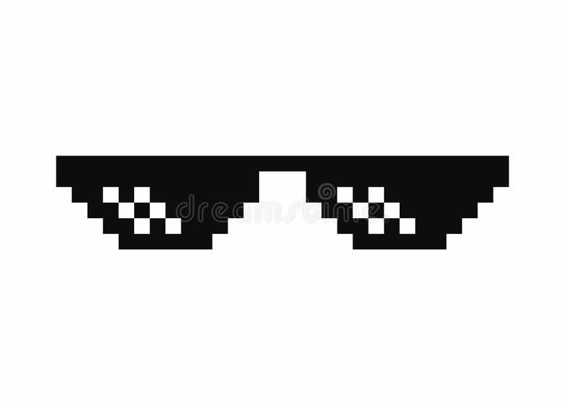 Verres d'art de pixel Verres de meme de la vie de voyou d'isolement sur le fond blanc illustration stock