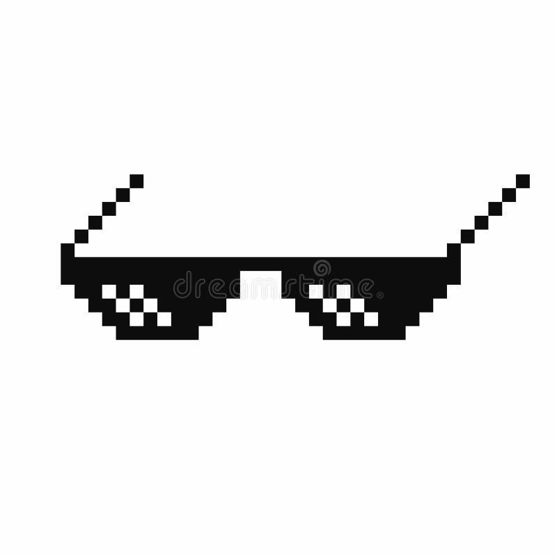 Verres d'art de pixel Verres de meme de la vie de voyou d'isolement sur le fond blanc illustration de vecteur