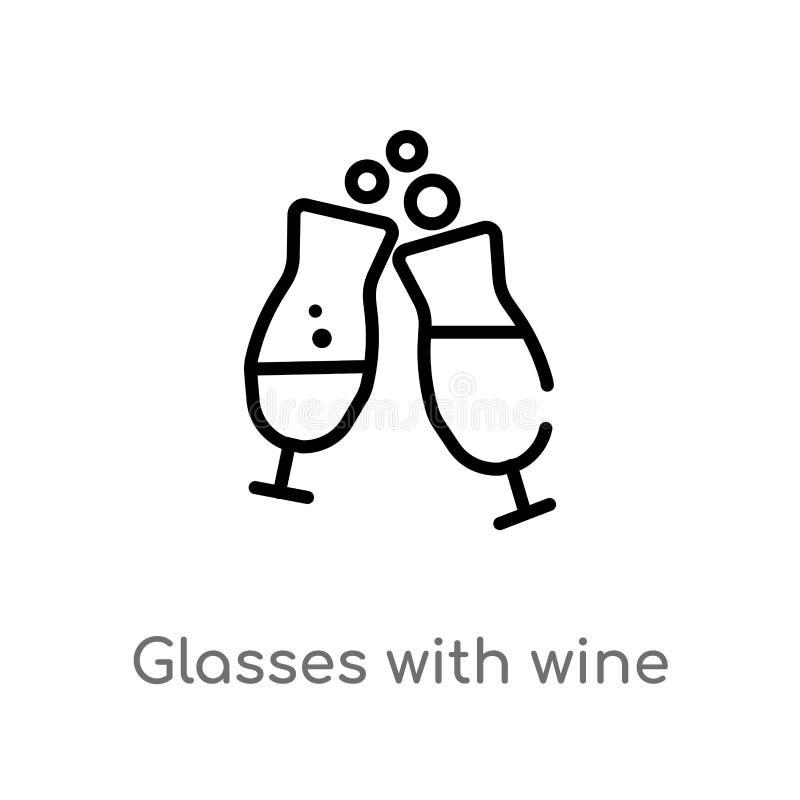verres d'ensemble avec l'icône de vecteur de vin ligne simple noire d'isolement illustration d'élément de concept de boissons Cou illustration de vecteur
