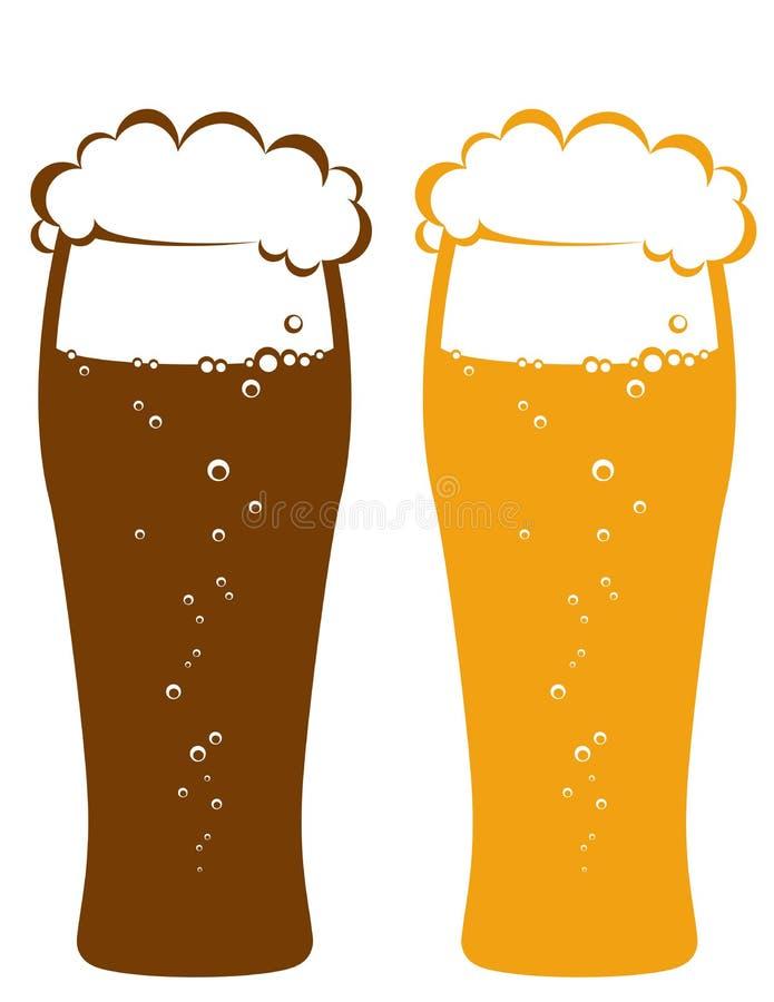 Verres de bière blonde et foncée illustration libre de droits
