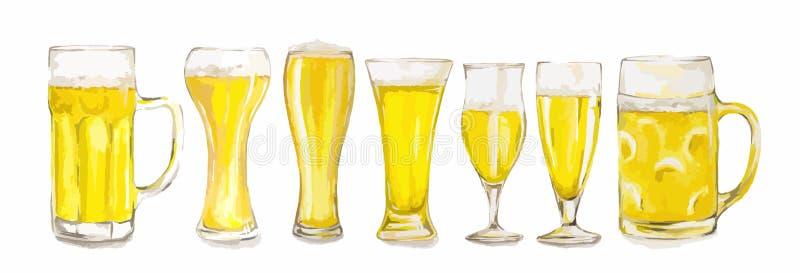 Verres de bière d'aquarelle réglés illustration stock