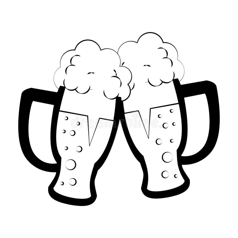 Verres de bière froide en noir et blanc illustration stock