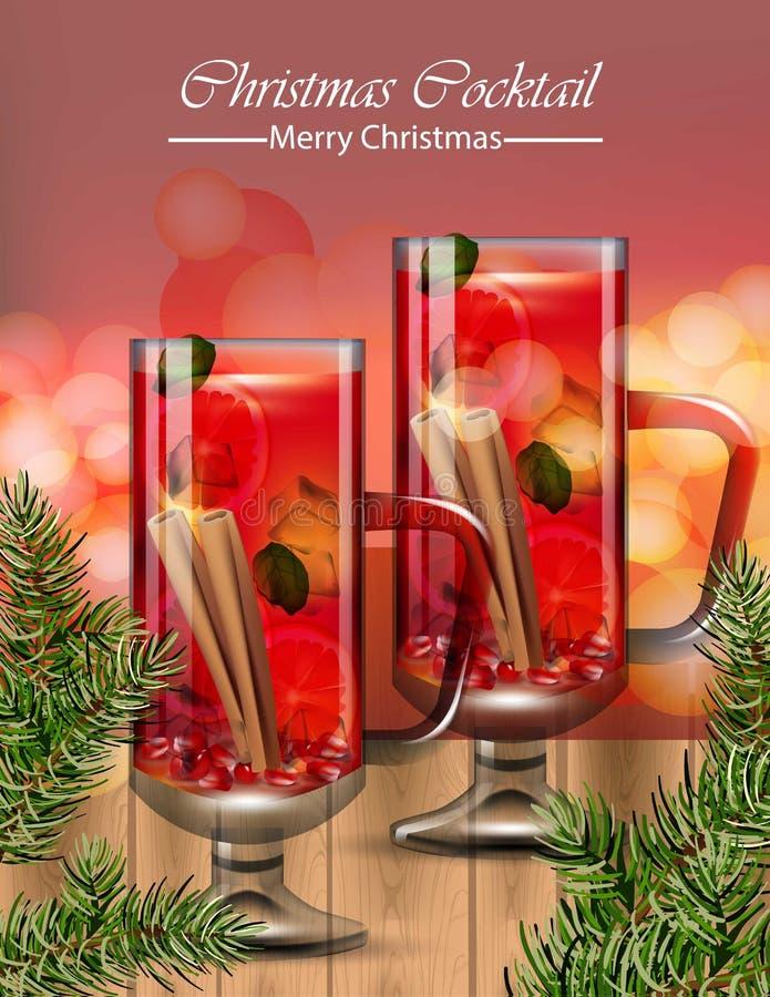 Verres de boissons de poinçon Vecteur de cocktails de Noël d'hiver réaliste illustration stock