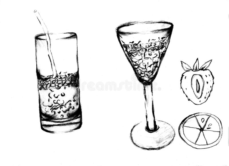 Verres de dessin avec l'eau et le crayon opérationnel tirés par la main photographie stock