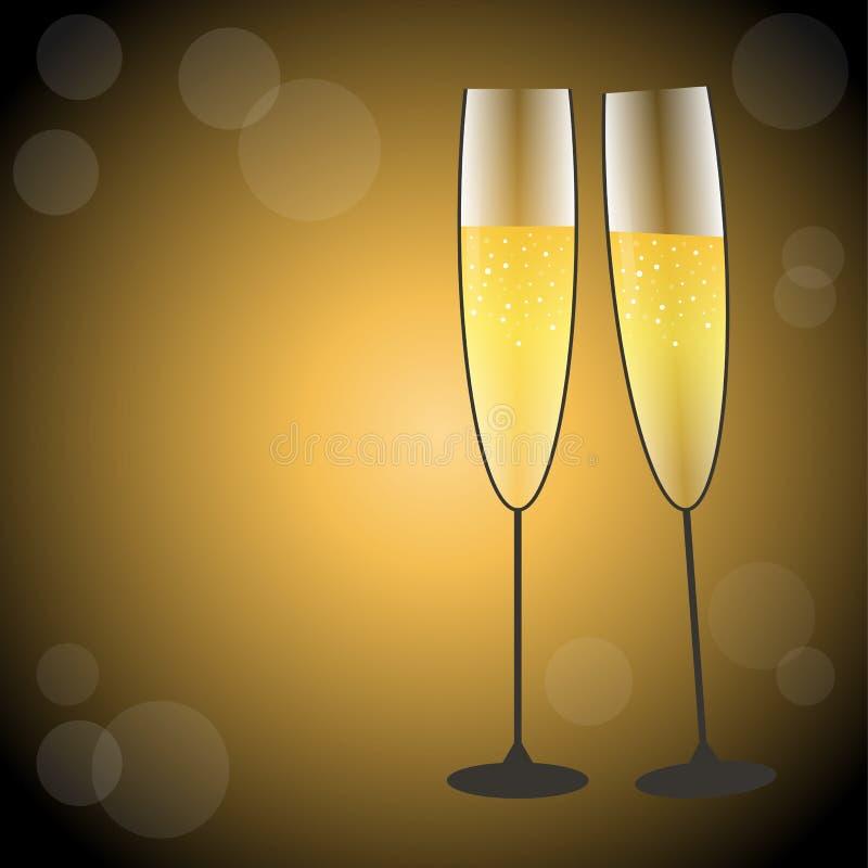 Verres de fête de champagne dans l'or et des collors noirs illustration de vecteur