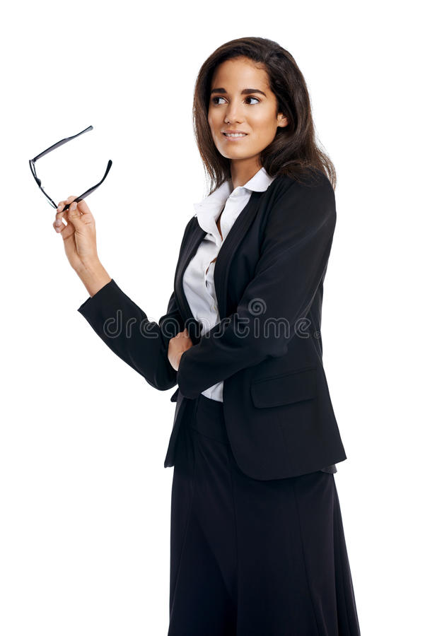 Download Verres de femme d'affaires photo stock. Image du adulte - 45370494