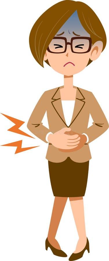 Verres de femme d'affaires jugeant l'abdomen dû à la douleur abdominale illustration libre de droits