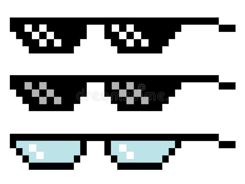 Verres de pixel réglés illustration stock