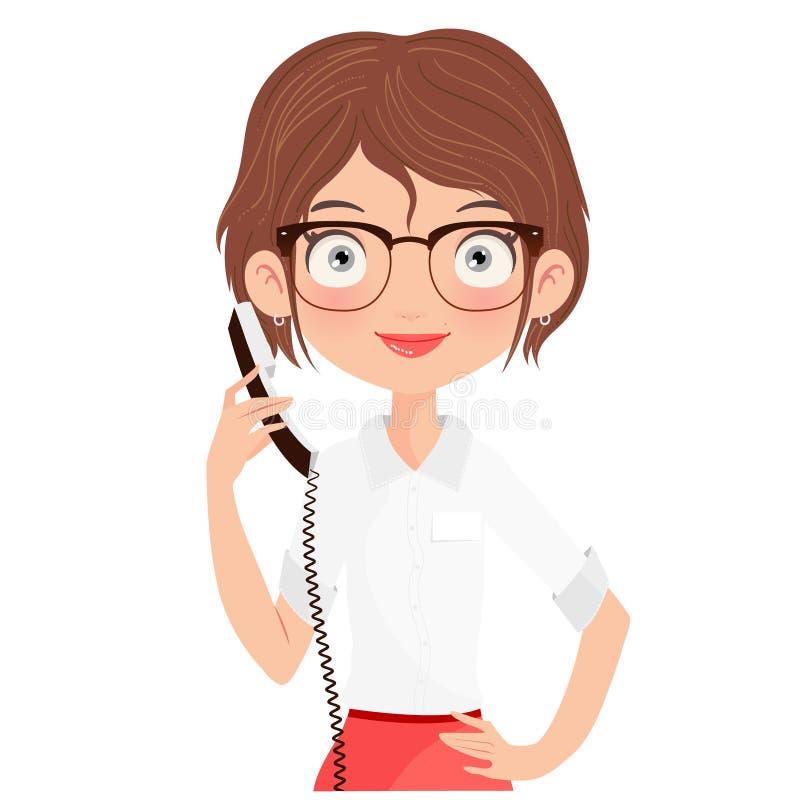 Verres de port de beau réceptionniste et tenir un téléphone photos libres de droits