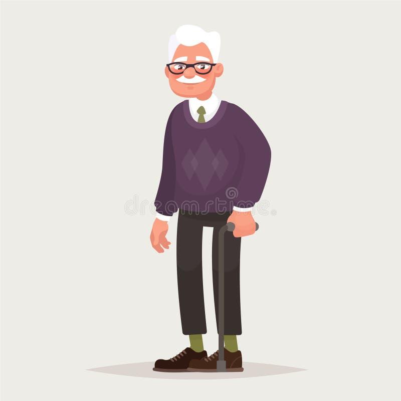 Verres de port de grand-père Un homme plus âgé avec une canne dans des ses mains Illustration de vecteur illustration libre de droits