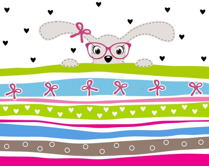 Verres de port mignons de fille de lapin sur le fond rayé illustration de vecteur