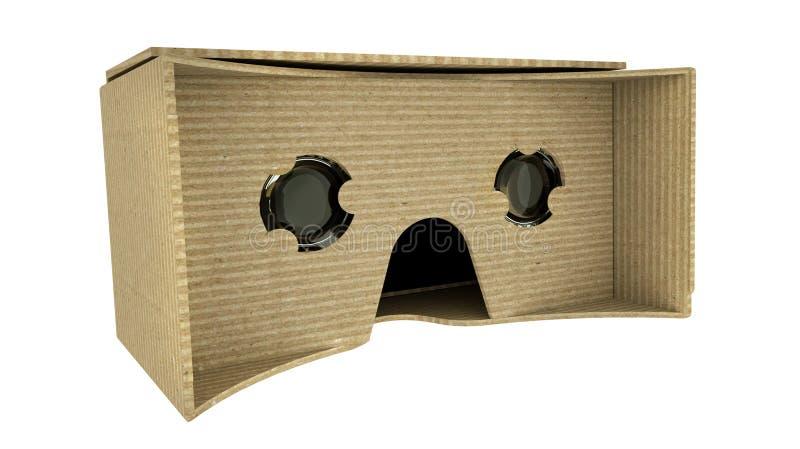 Verres de réalité virtuelle de carton d'isolement sur le blanc 3d rendent illustration de vecteur
