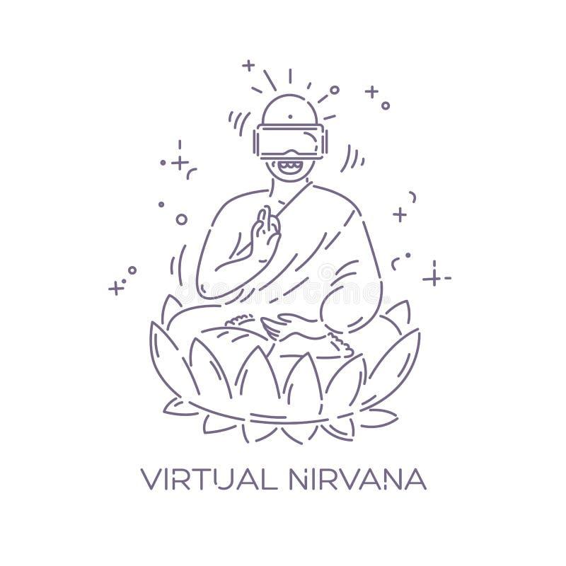 Verres de réalité virtuelle sur Bouddha Concept de la publicité de casque de VR Nirvana virtuel Ligne pointillée illustration de  illustration libre de droits