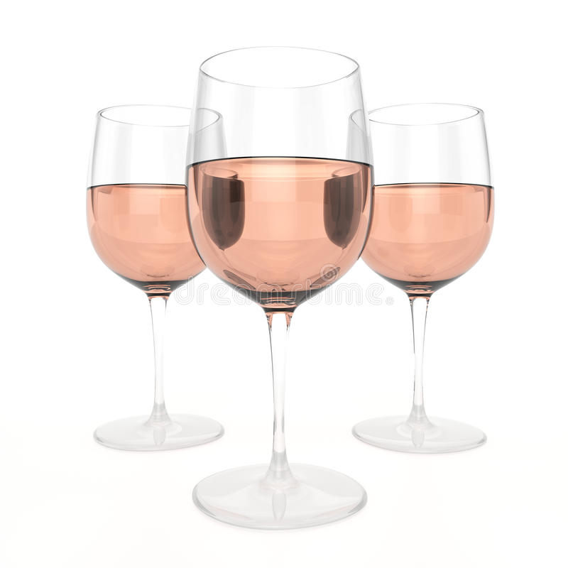 3 verres de Rose Wine illustration de vecteur