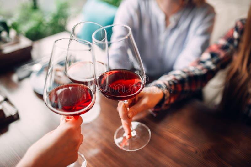 Verres de tintement d'amies avec le vin rouge image stock