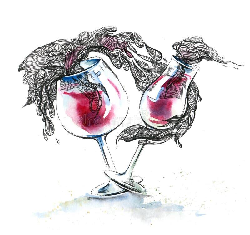 Verres de vin illustration stock