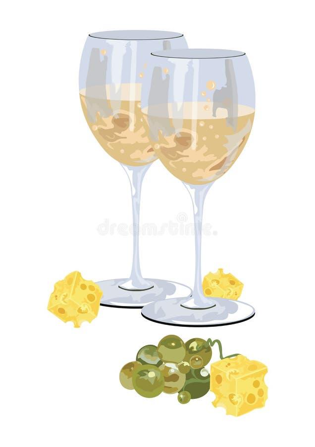 Verres de vin blanc avec des raisins illustration libre de droits