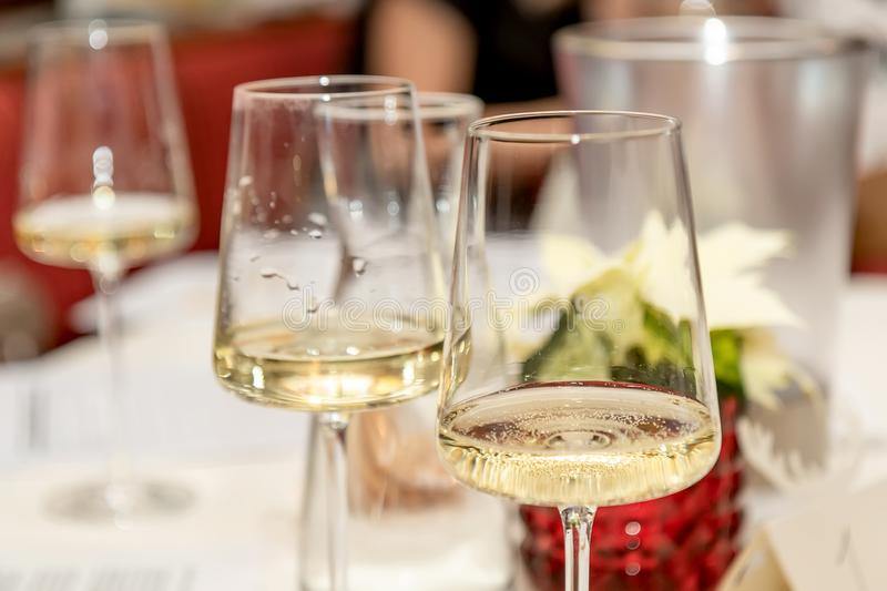 Verres de vin blanc image libre de droits